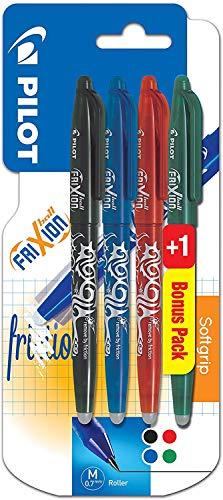 Lot de 4 stylos Pilot FriXion Ball 0.7 - Roller effaçable, Noir/Bleu/Rouge/Vert