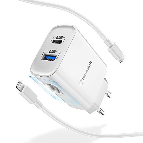 Chargeur secteur GlobaLink - 18 W, port USB type-C + USB, avec câble Lightning 2 m (vendeur tiers)