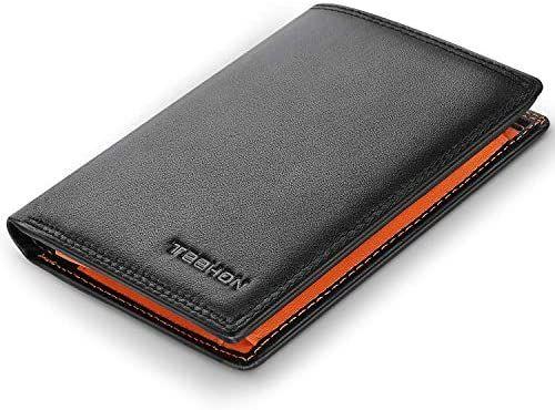 Portefeuille en cuir Homme Teehon - Noir / Orange (vendeur tiers)