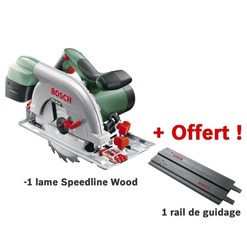 Scie circulaire filaire Bosch PKS 66 2AF (1600W, 19 cm, Lame Speedline Wood) + Rail de guidage (via ODR de 40€)