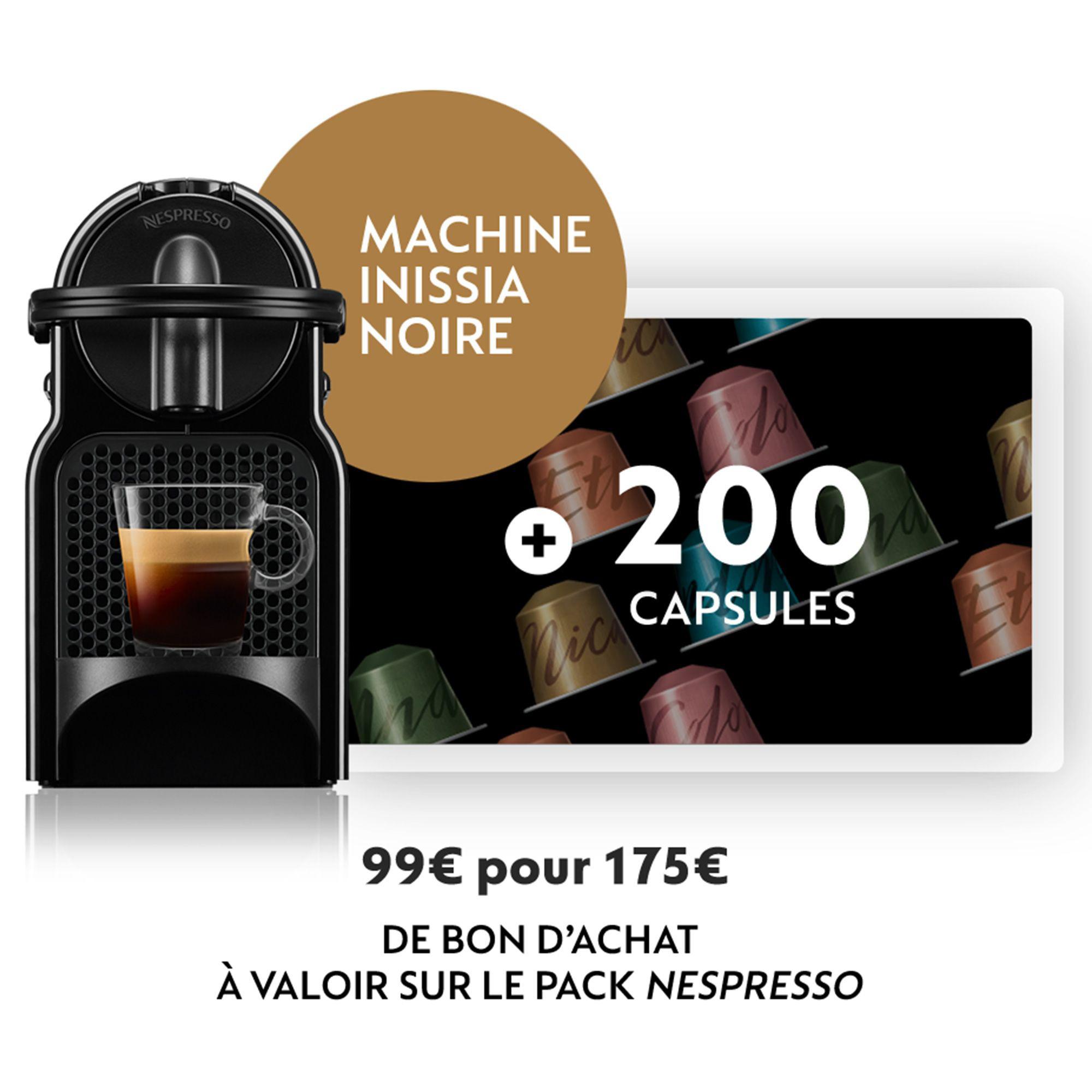 Bon d'achat pour un Pack Cafetière à Dosettes Krups Nespresso Inissia + 200 Capsules Original