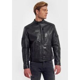 Veste en cuir style motard Kaporal - coupe droite, noir