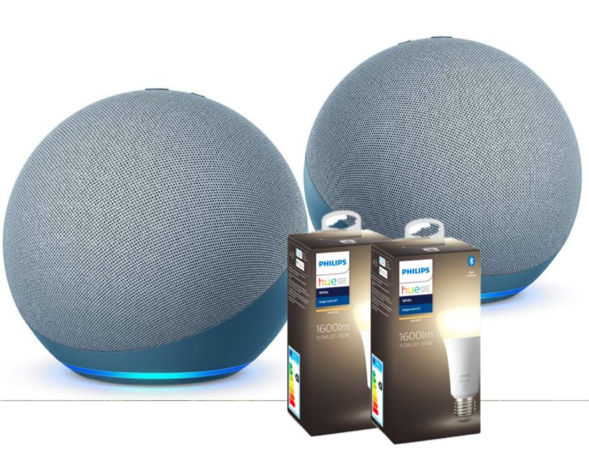 2 Enceintes connectées Amazon Echo (4e Génération) avec Assistant vocal + 2x 2 Ampoules connectées Philips Hue E27 White