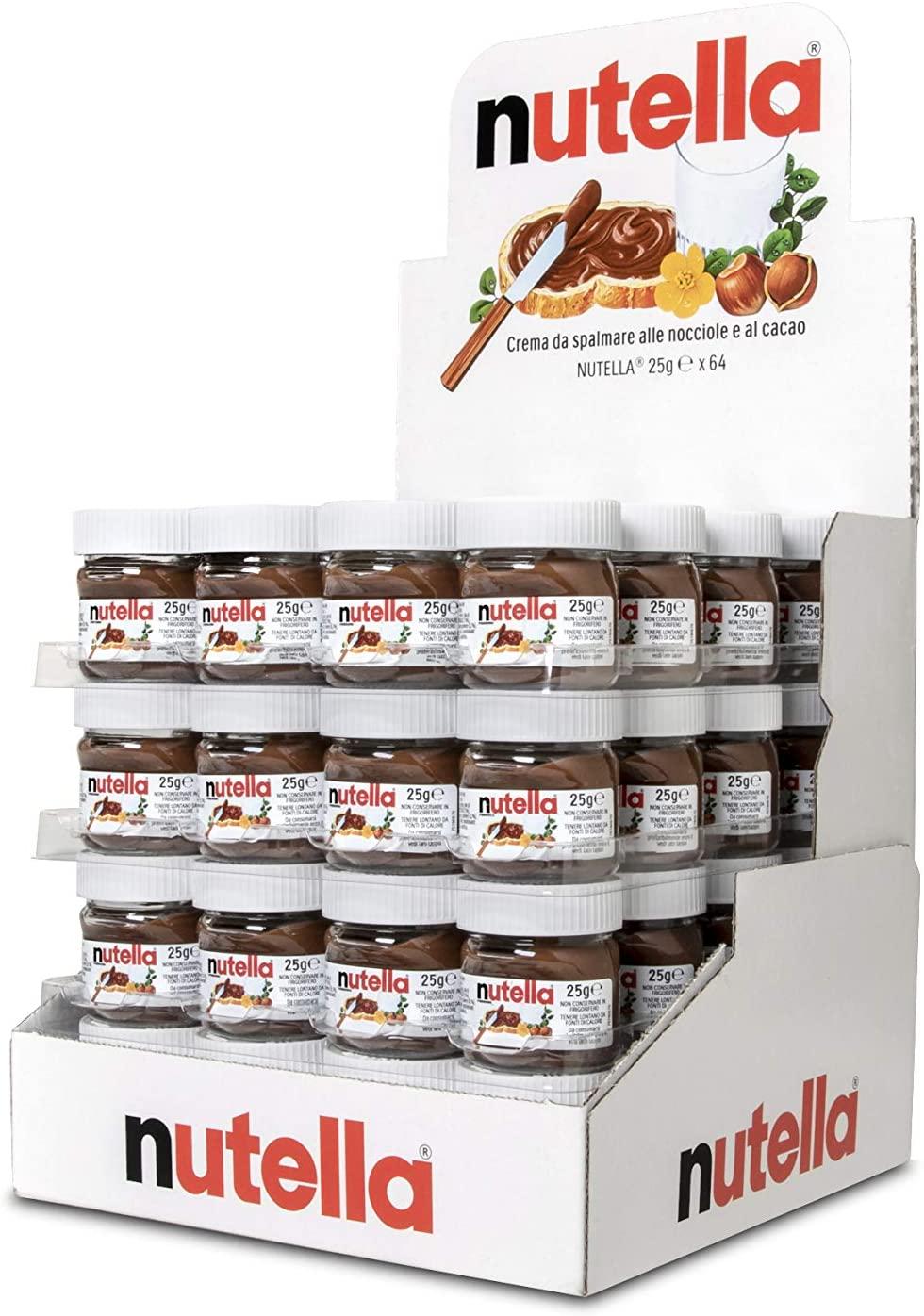 64 mini pots de pâte à tartiner aux noisettes et cacao Nutella - 64 x 25 g