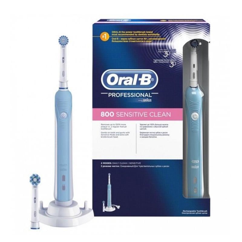 Brosse à dents électrique rechargeable Oral-B Pro 800 Sensitive Clean ou Ultra Thin