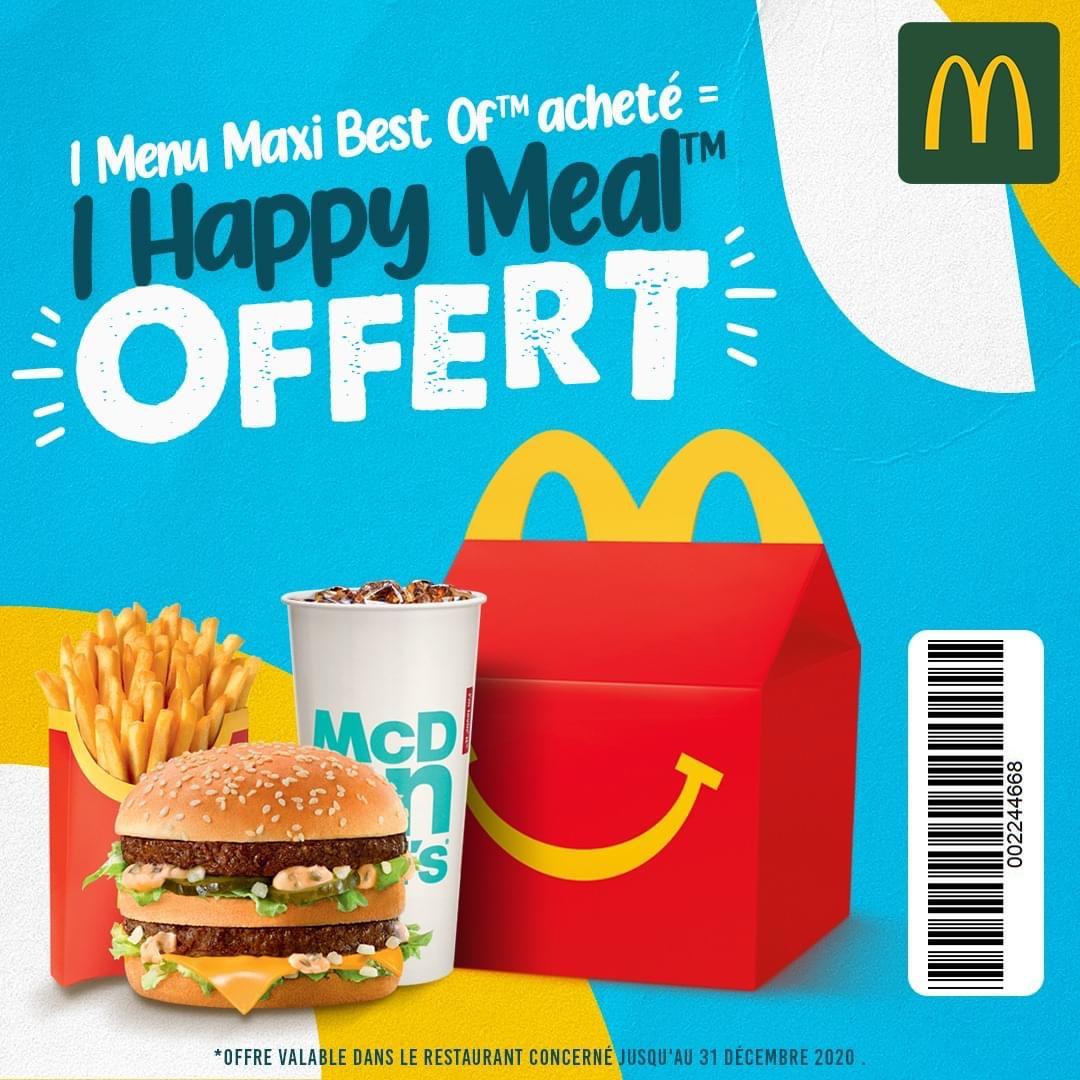 1 menu Maxi Best Of acheté = 1 Happy Meal offert - McDonald's Porte Maillot Paris (75)