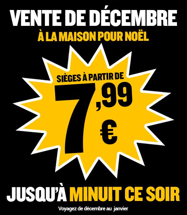 Sélection de billets Aller Simple à partir de 7.99€ (pour tout voyage entre le 16/12 et le 10/01)
