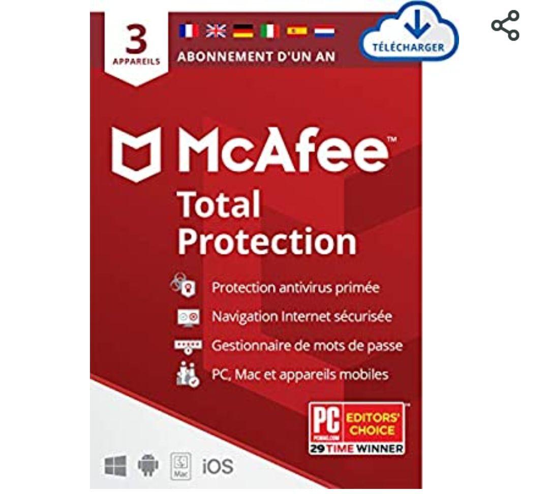 Logiciel McAfee Total Protection 2021 sur PC/Mac/Android/Smartphones - 3 Appareils, 1 An (Dématérialisé)