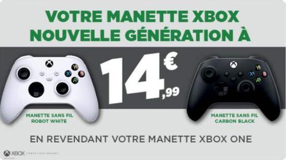 Manette sans-fil Microsoft Xbox Series à 14.99€ (Via reprise d'une ancienne manette Xbox One)