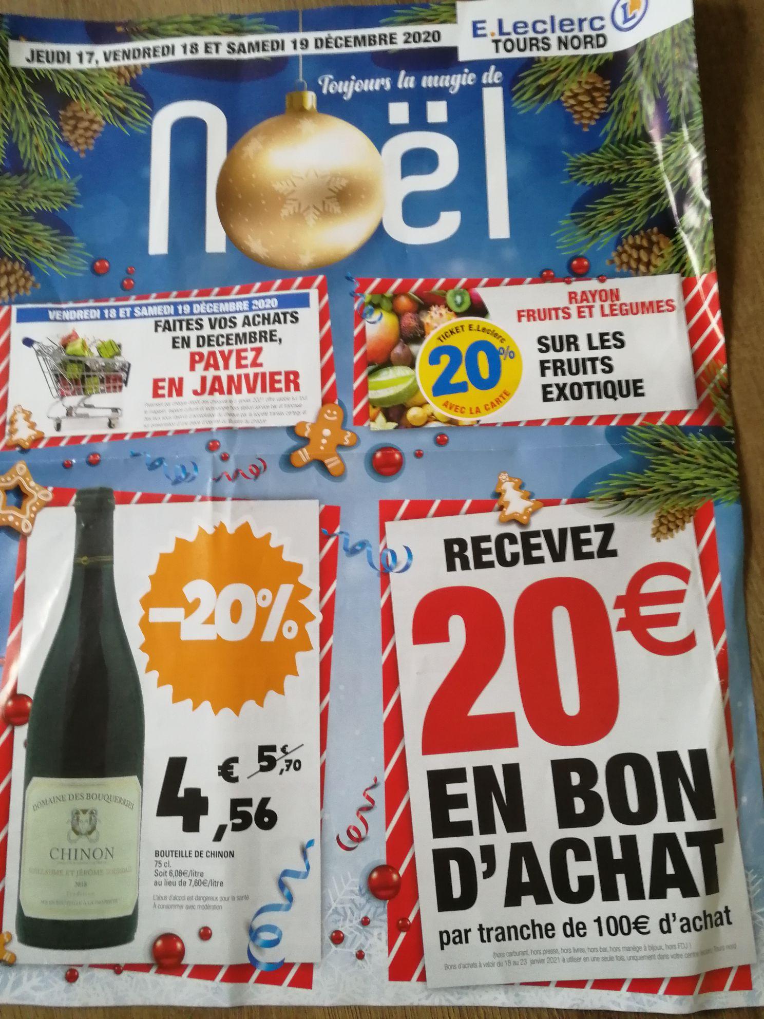 20€ offerts en bon d'achat tous les 100€ d'achat ( Tours-Nord 37)