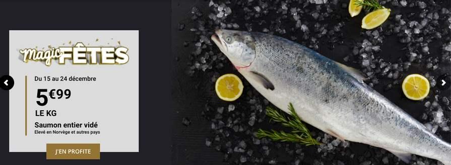 Saumon entier vidé - élevé en Norvège ou autres pays, le kg