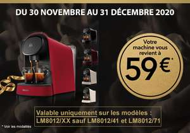 Machine à café à capsules L'OR Barista de la gamme LM8012/XX (Via ODR)