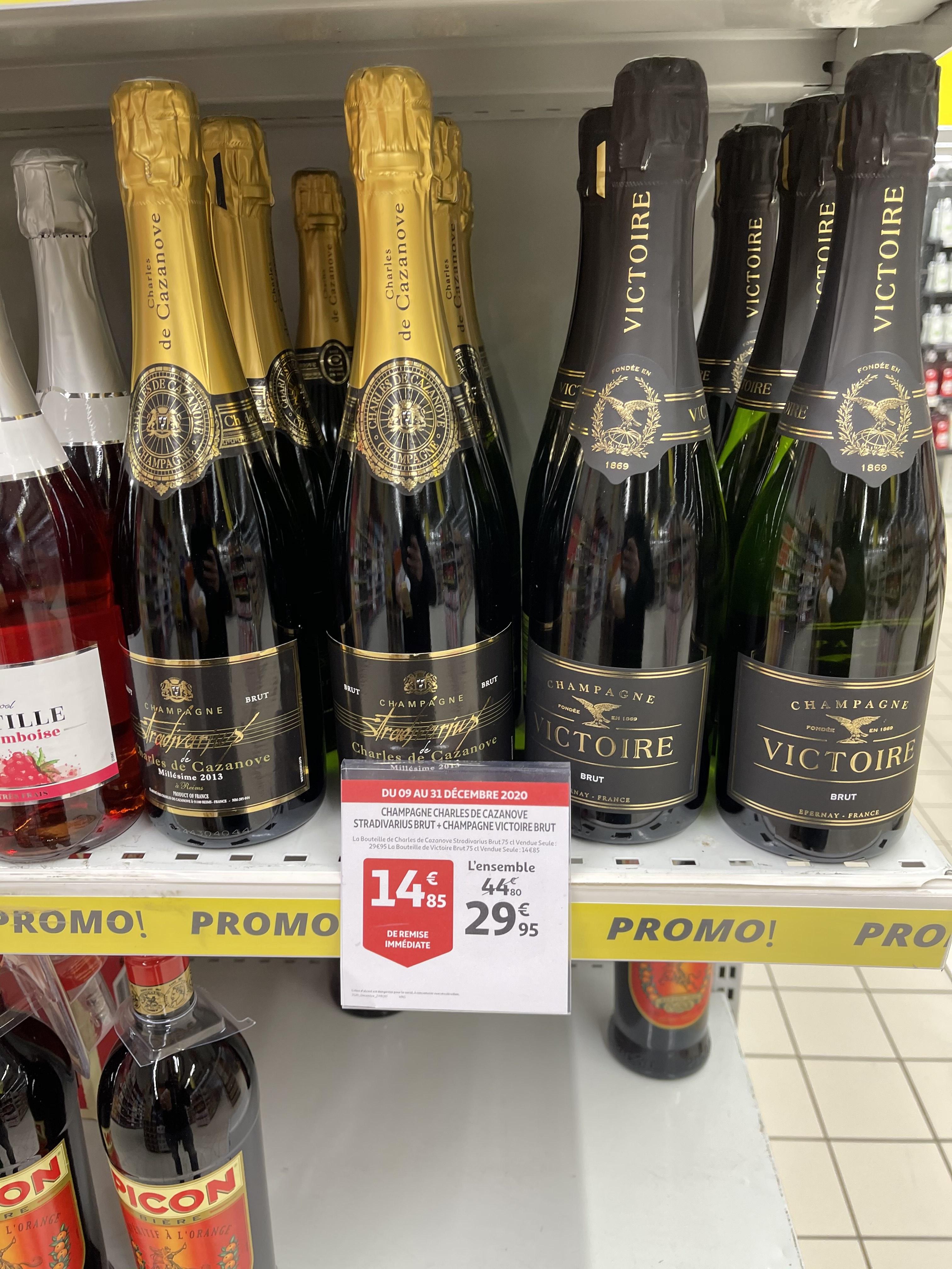 Lot de 2 bouteilles de Champagne Charles de Cazanove - Auchan Mutzig (67)