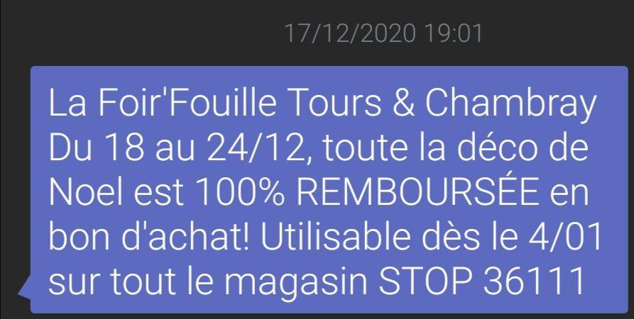 100% remboursé en bon d'achat sur la Décoration de Noël - Tours et Chambray-lès-Tours (37) / Sainte-Eulalie (33)