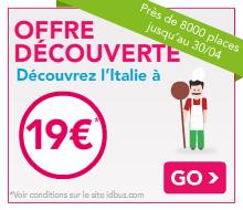 Promo IDBUS : Aller / Retour France-Italie
