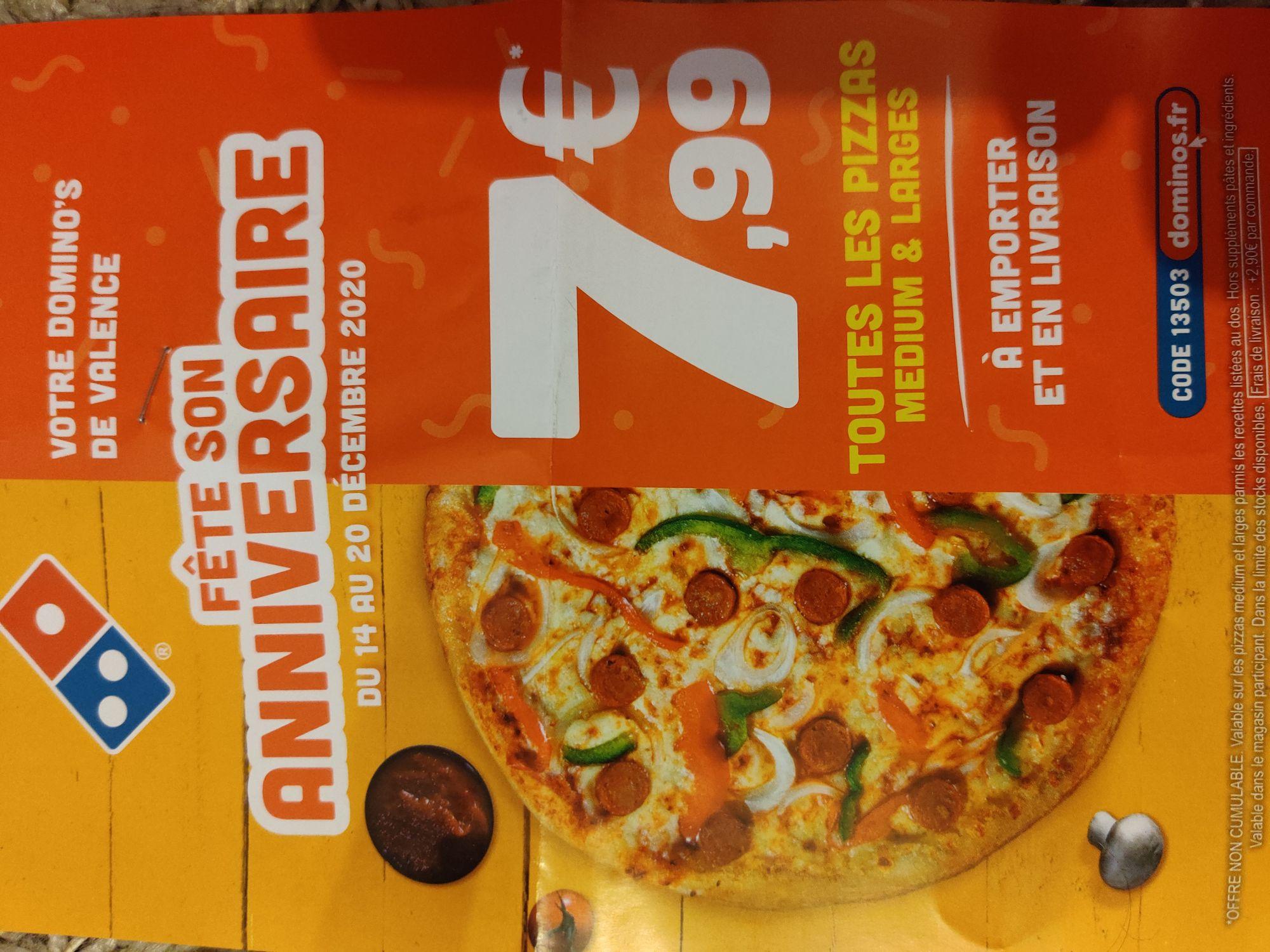Toutes les pizzas Medium et Large à 7.99€ (26)