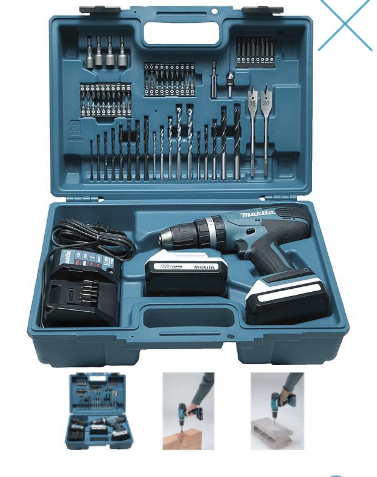 Perceuse visseuse à percussion Makita HP457DWE10 (18 V, 1.5 Ah) + Kit d'accessoires
