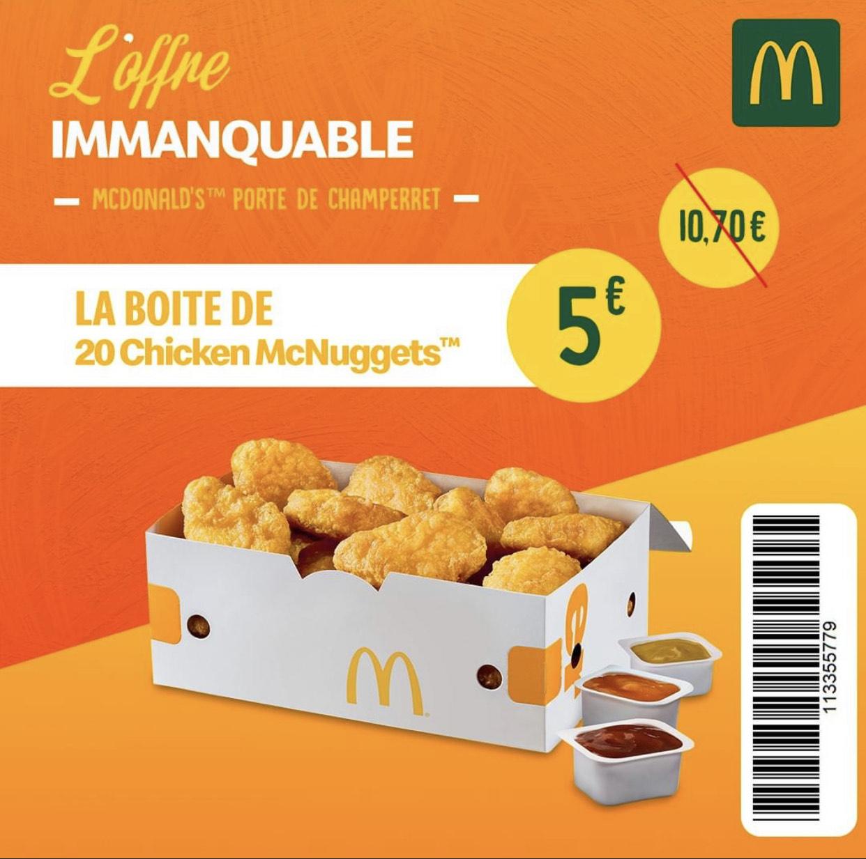 La boîte de 20 nuggets à 5€ - Mcdonald's Paris Porte de Champerret (75)