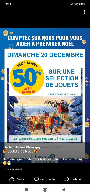 50% offerts sur votre carte sur les jouets (Jardres Chauvigny 86)