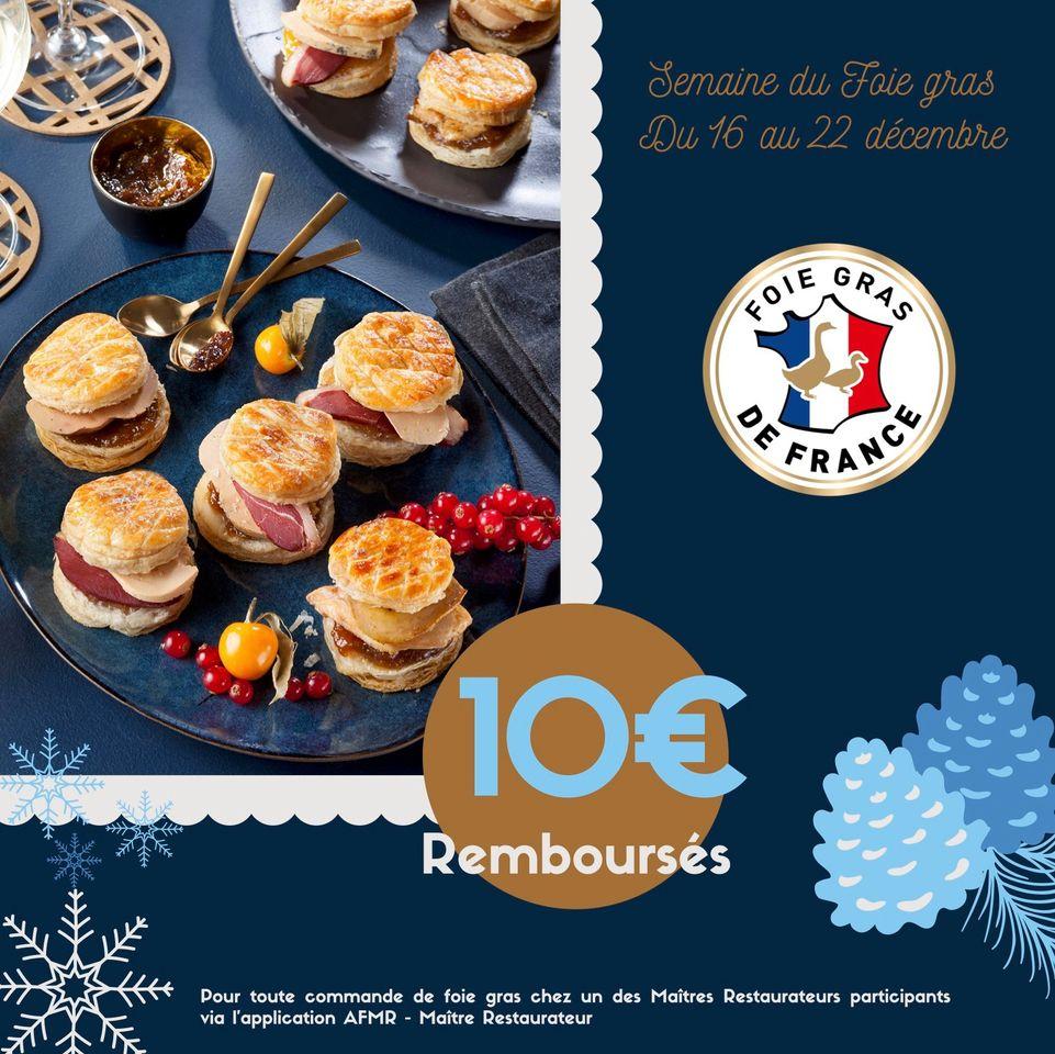 10€ remboursés dès 30€ de commande de foie gras à emporter auprès de Maîtres Restaurateurs (via l'application AFMR) - Menu.Du-Jour.fr