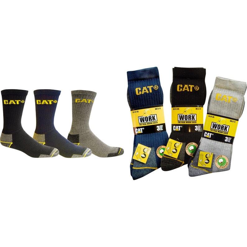 Lot de 3 paires de chaussettes de travail CATERPILLAR C-123, noir taille 41/45