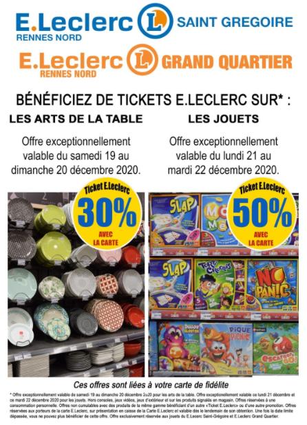 50% offerts en tickets Leclerc sur les jouets et 30% sur l'art de la table - Grand Quartier (35)