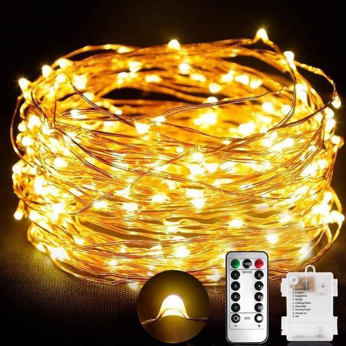 Guirlande Lumineuse à Piles avec télécommande -10m, 100 Micro LED, Blanc Chaud, IP65, 8 modes d'éclairage (Vendeur tiers)