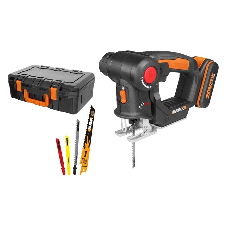 Scie sauteuse / Scie sabre sans fil Worx WX550 - 20 V, 1.5 ou 4 Ah, 1 batterie (Via remise panier)