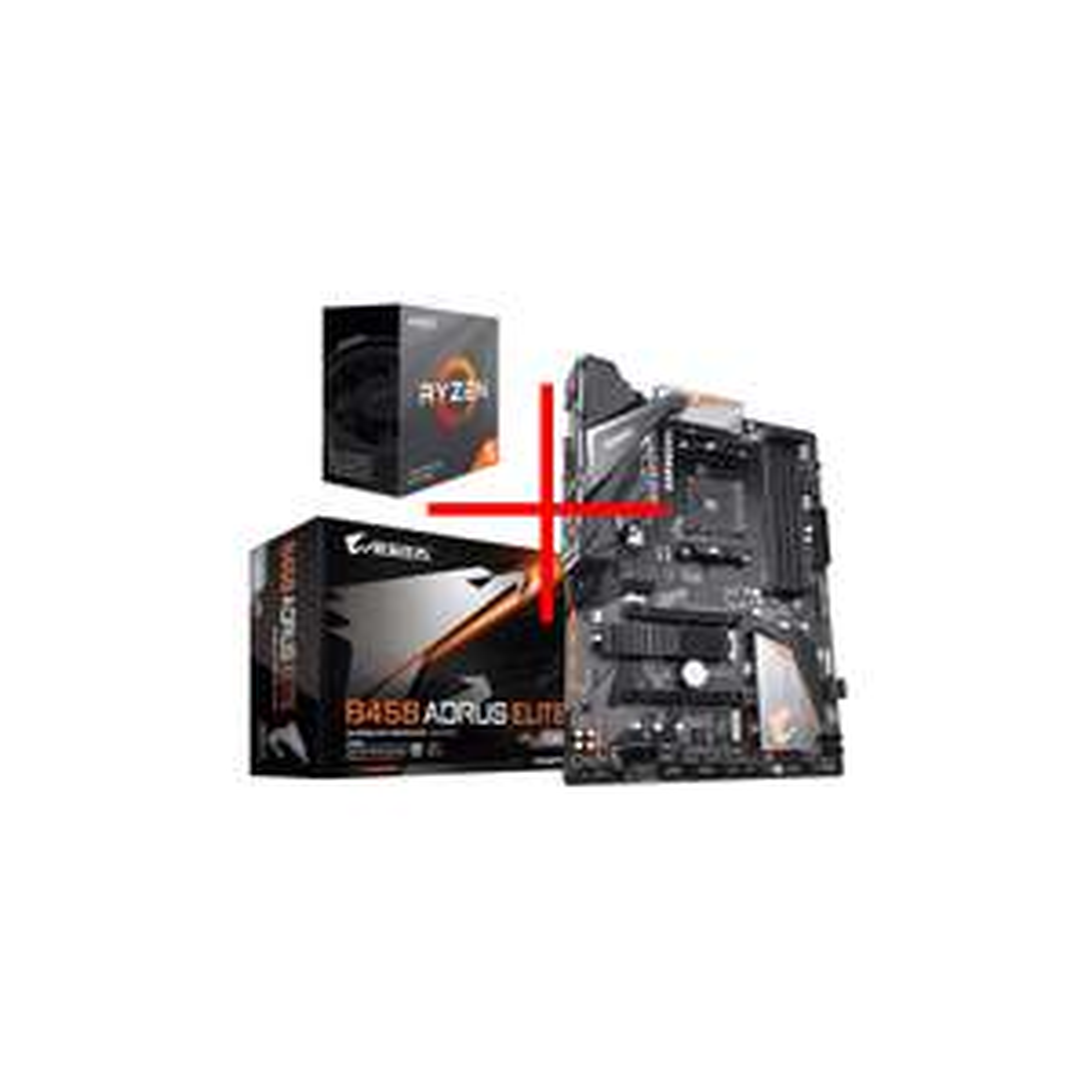 Kit évo Processeur Ryzen 5 3600 + Carte Mère Gigabyte B450 Aorus Elite