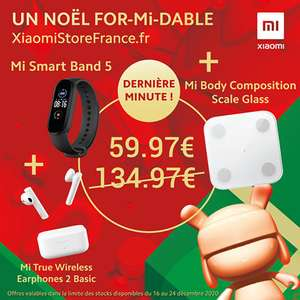 Pack Xiaomi Fitness: Bracelet connecté Mi Band 5 + Balance Mi Body Composition + Ecouteurs Mi Earphones 2 Basic