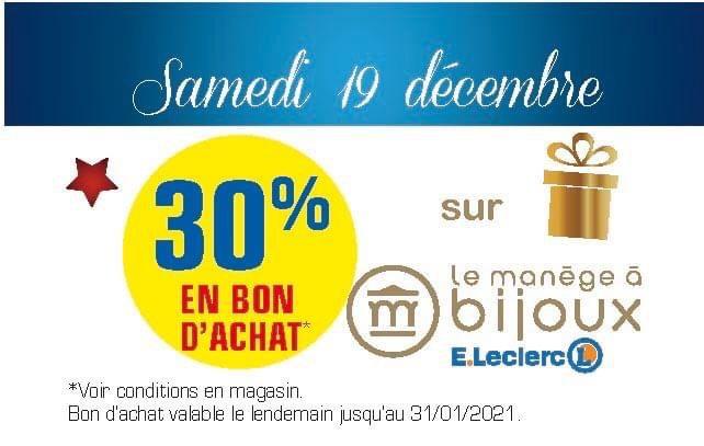Sélection d'offres promotionnelles - Ex : 30% offerts en bon d'achat sur le manège à bijoux à Leclerc blaye (33)