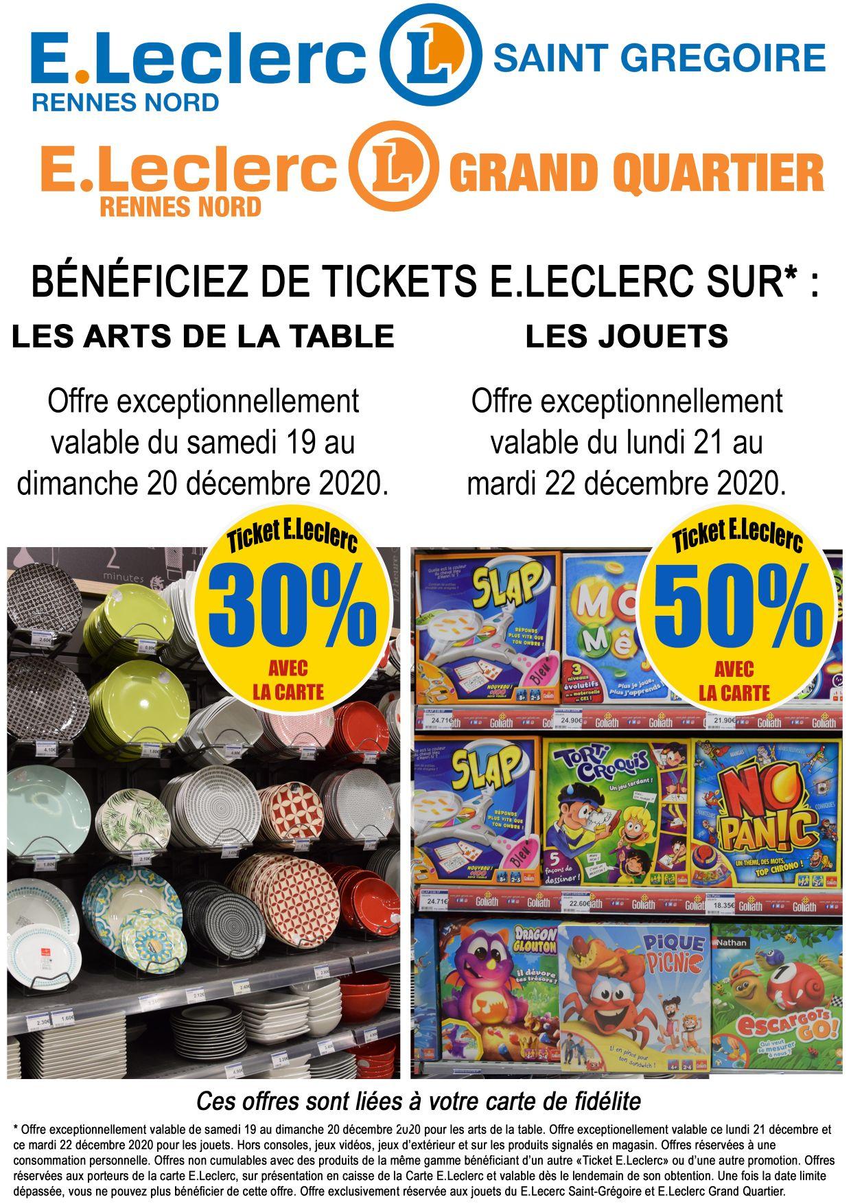 50% en Tickets E.Leclerc sur jouets de Noel - Leclerc Rennes (35)