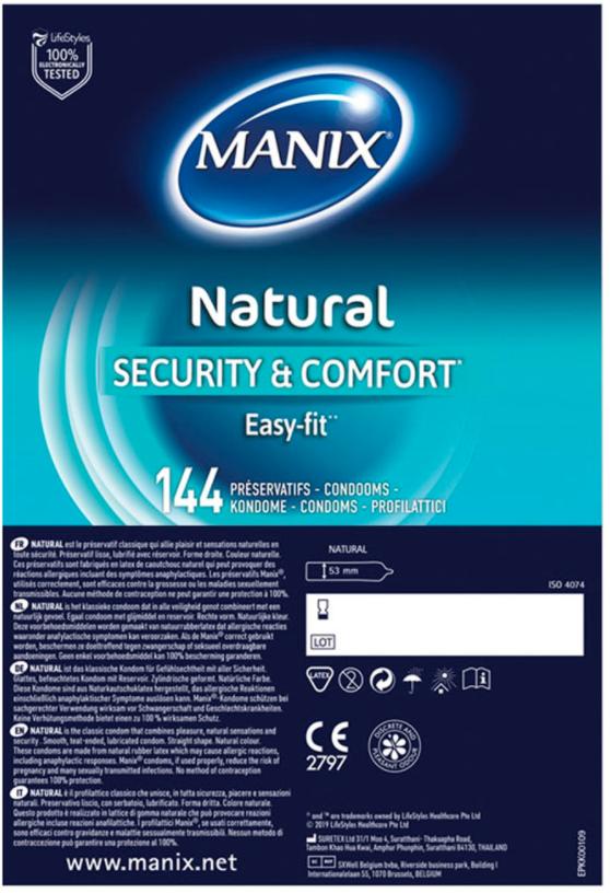 Lot de 144 préservatifs Manix Natural