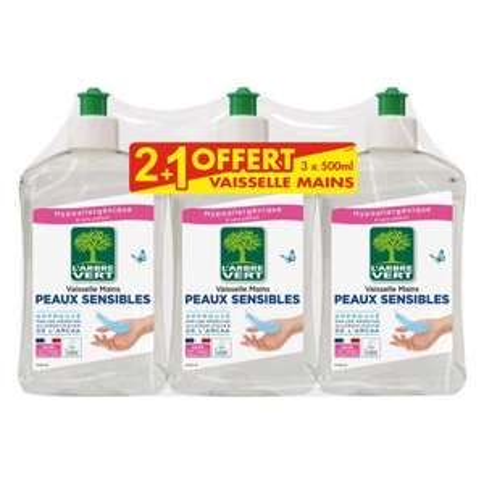 Lot de 3 Liquides Vaisselle L' Arbre Vert - Différentes variétés - 3×500ml
