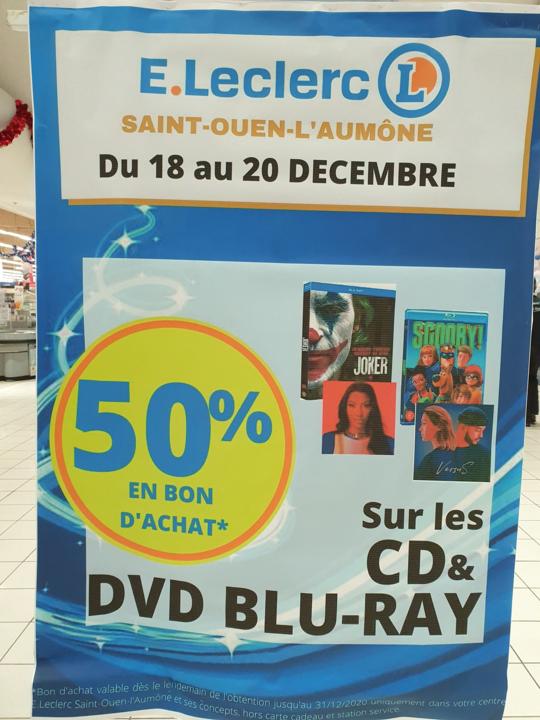 50% offerts en bon d'achat sur les CD, DVD, Blu-ray, textiles & chaussures- Saint-Ouen-l'Aumône (95)