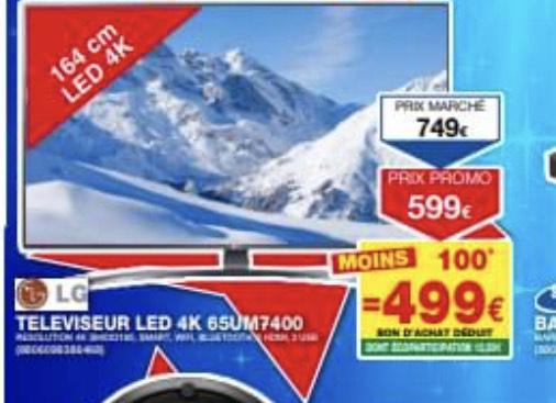 "TV 65"" 65UM7400 - 4K UHD, Smart TV (Via 100€ en bon d'achat) - Marignier (74)"