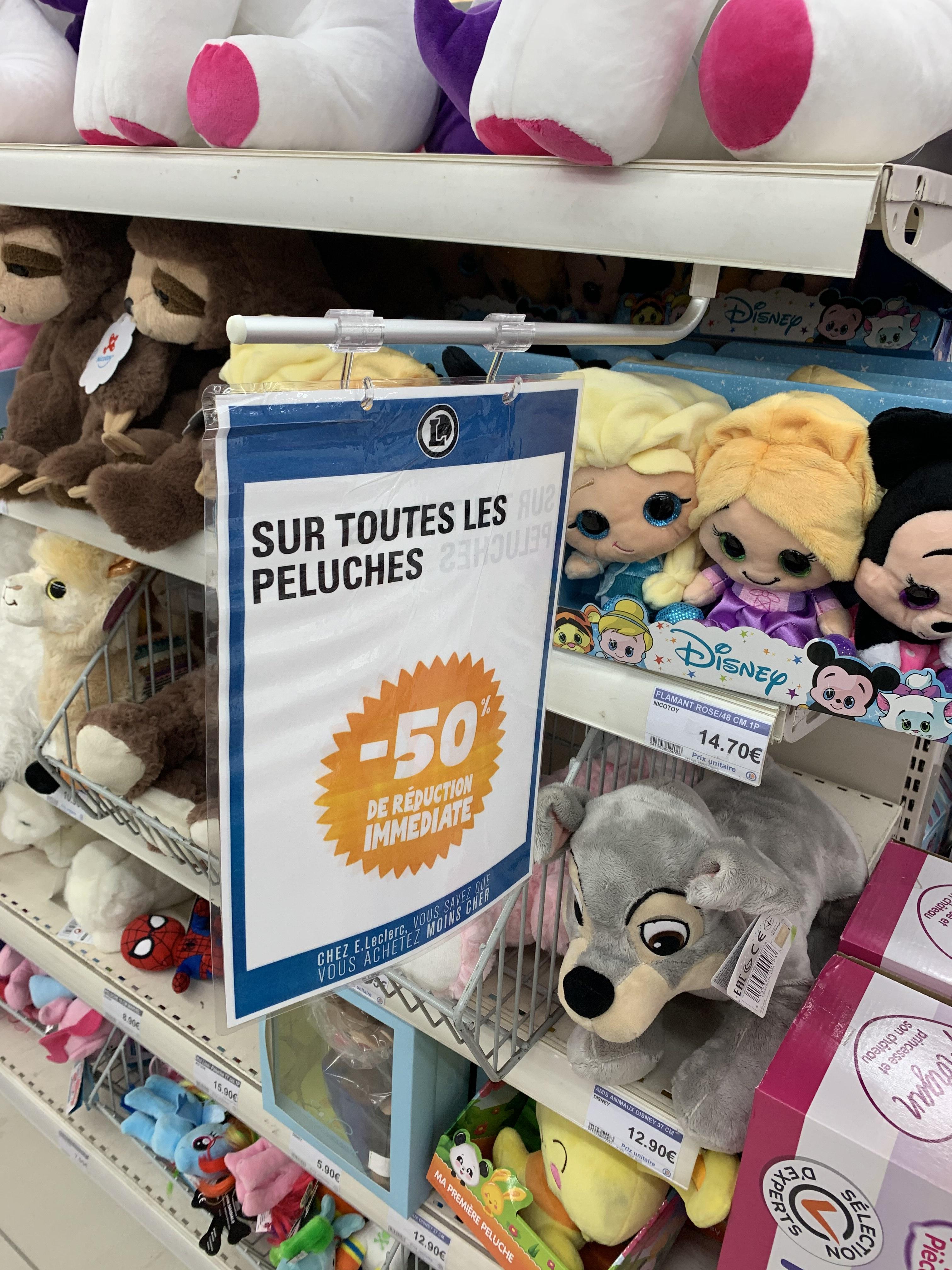 50% de réduction sur toutes les peluches - Niort Mendes France (79)
