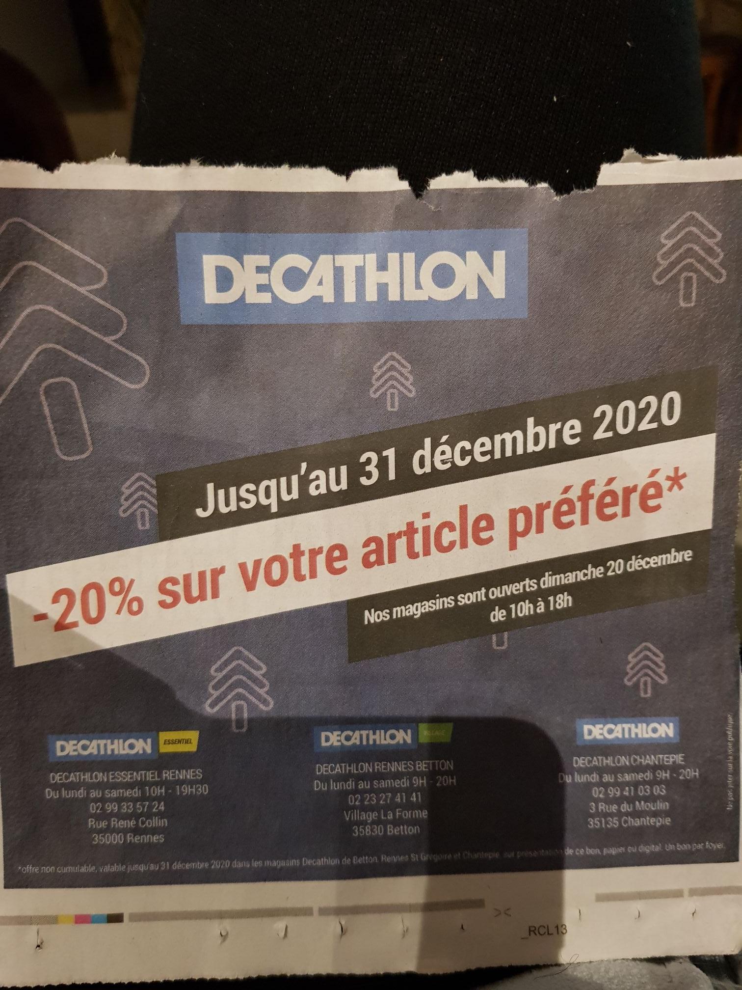 20% de réduction sur un article au choix - Rennes (35)