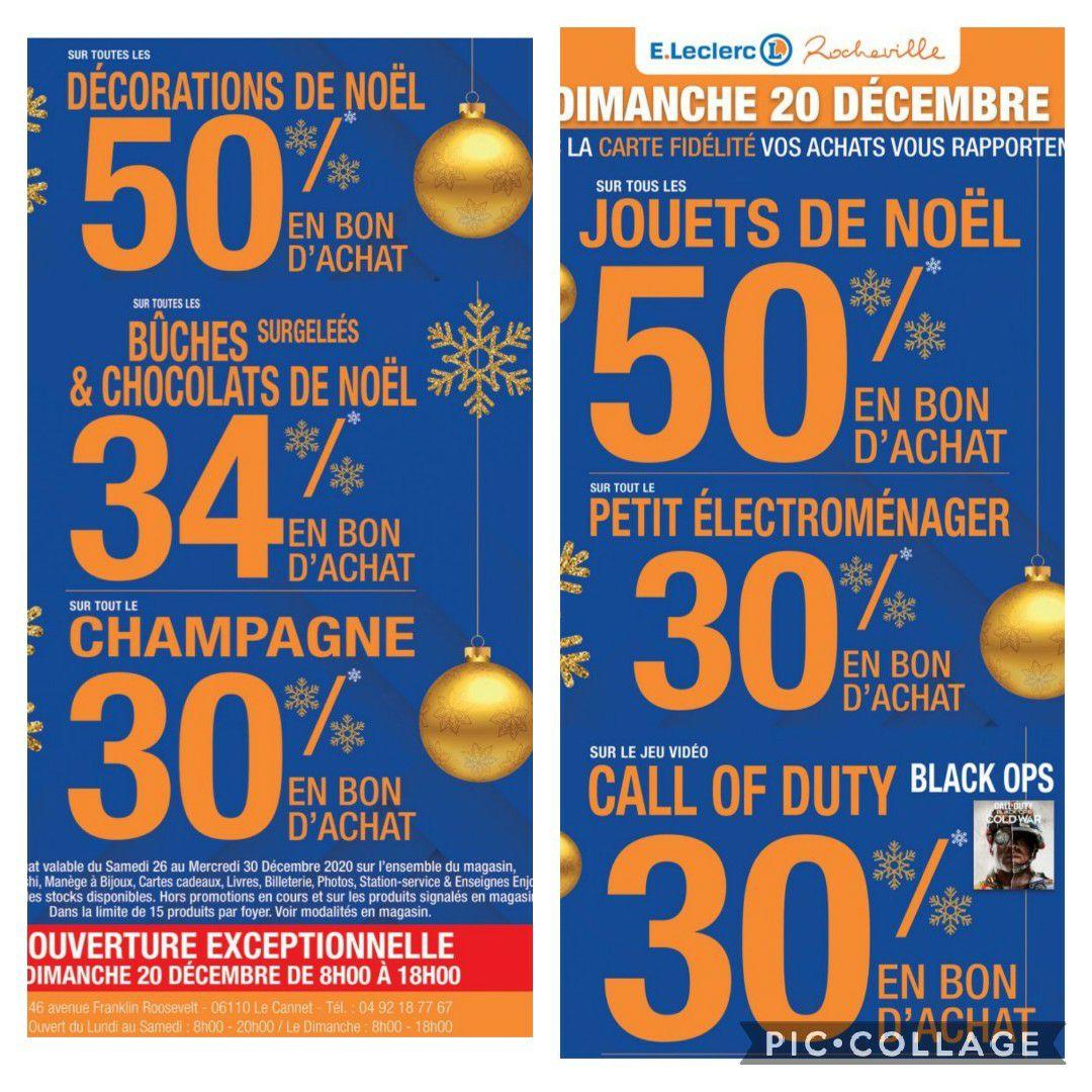 Sélection d'offres promotionnelles - Ex : 50% remboursés en bon d'achat sur les décoration de Noël (Leclerc Rocheville 06)