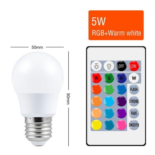 Ampoule LED RGB 5W - lumière blanche ou chaude