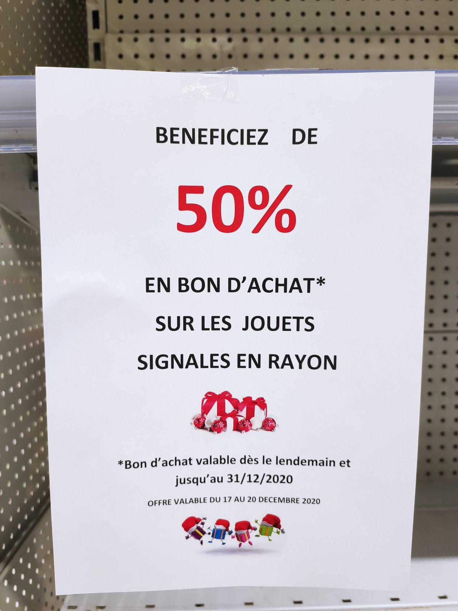 50% offerts en bons d'achats sur une Sélection de jouets - Leclerc St Just en Chaussée (60)