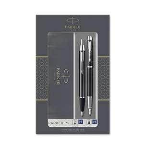 Coffret-cadeau Parker IM Duo : Stylo Bille et stylo plume - Finition noire avec attributs chromés