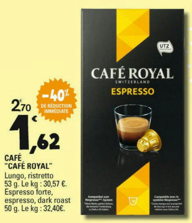 Étui de 10 capsules de Café Royal (compatible Nespresso) - via BDR