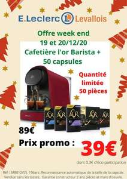 Machine à café Philips L'Or Barista LM8012/55 + 50 capsules - Leclerc Levallois (92)