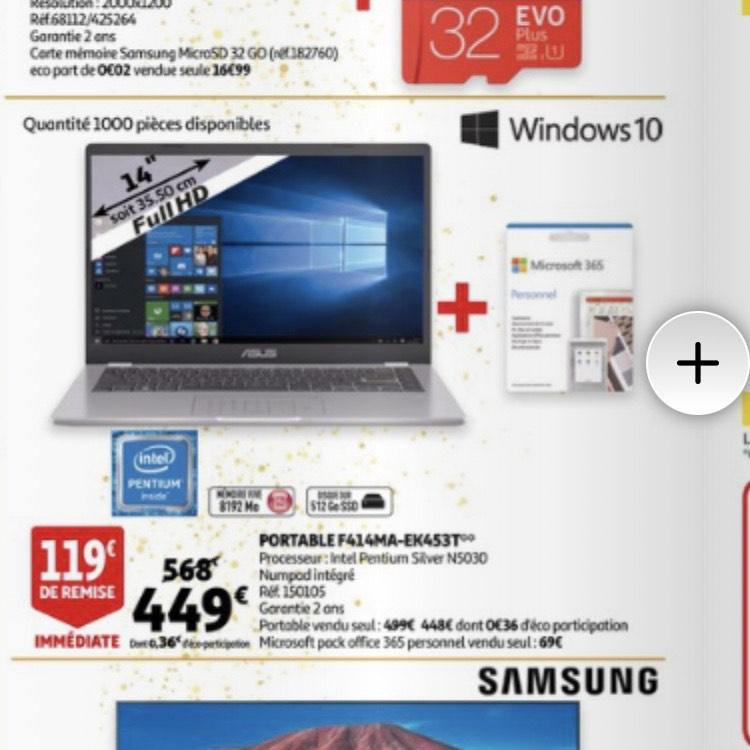 "PC Portable 14"" Asus f414ma-ek453t - Pentium N5030, 8 Go RAM, 512 Go SSD, Windows 10 + Microsoft 365"