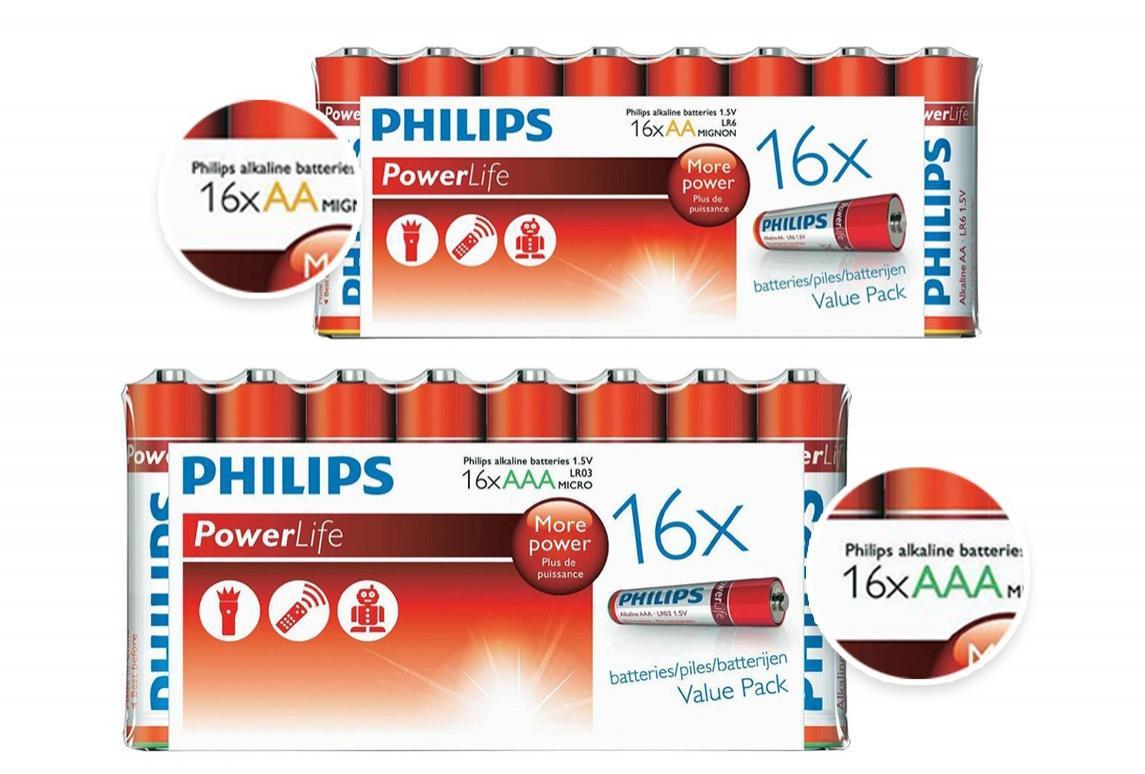 Lot de 64 piles Philips AAA ou AA