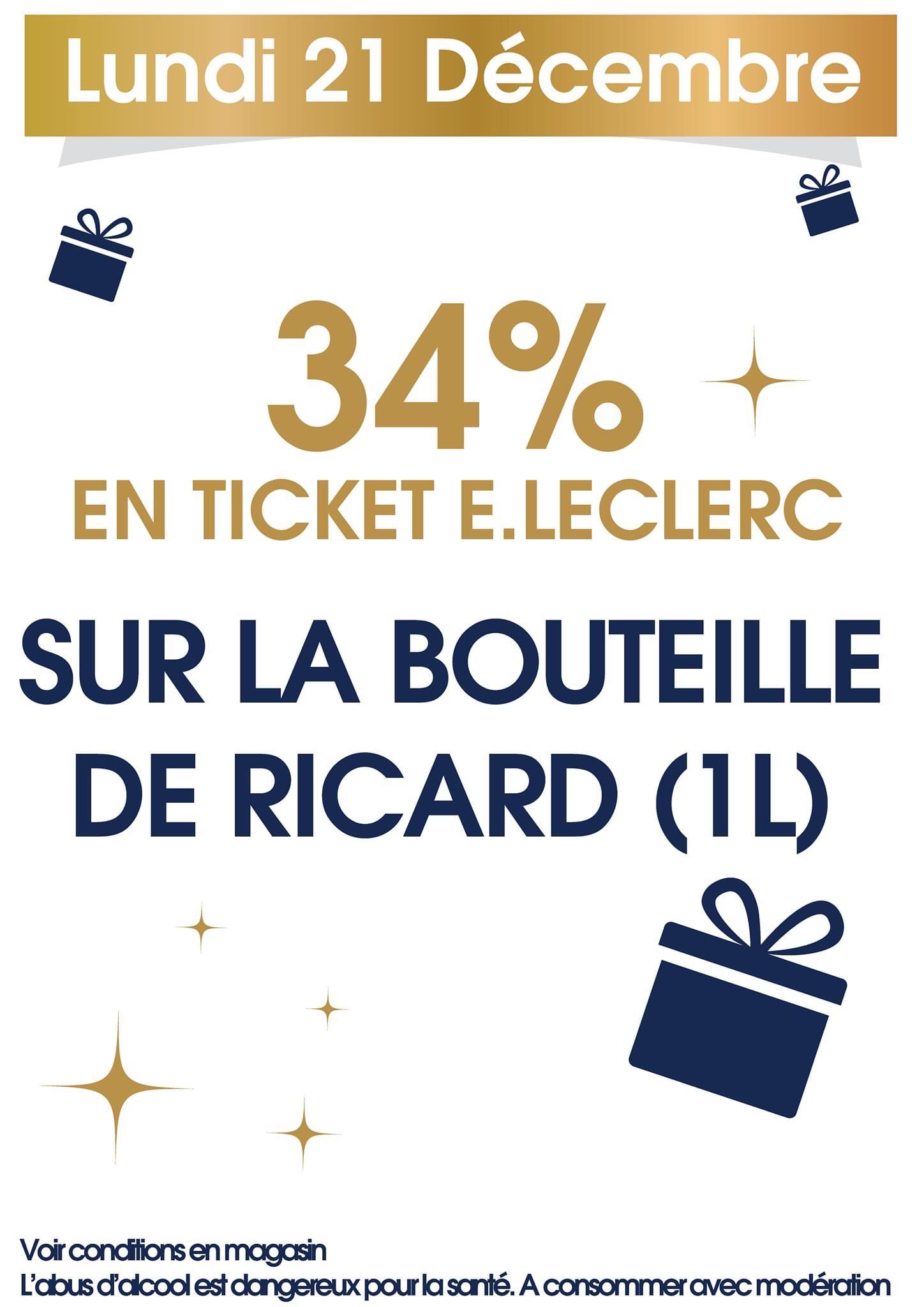 34% sur la carte fidélité sur la bouteille de Ricard (1L)