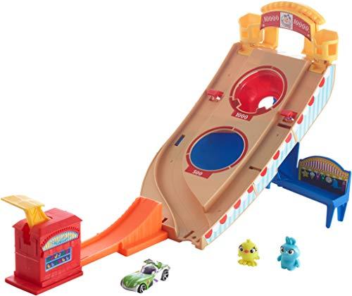 Jouet Hot Wheels Disney Pixar Toy Story 4 - Coffret Buzz l'Éclair à la Fête Foraine avec rampe