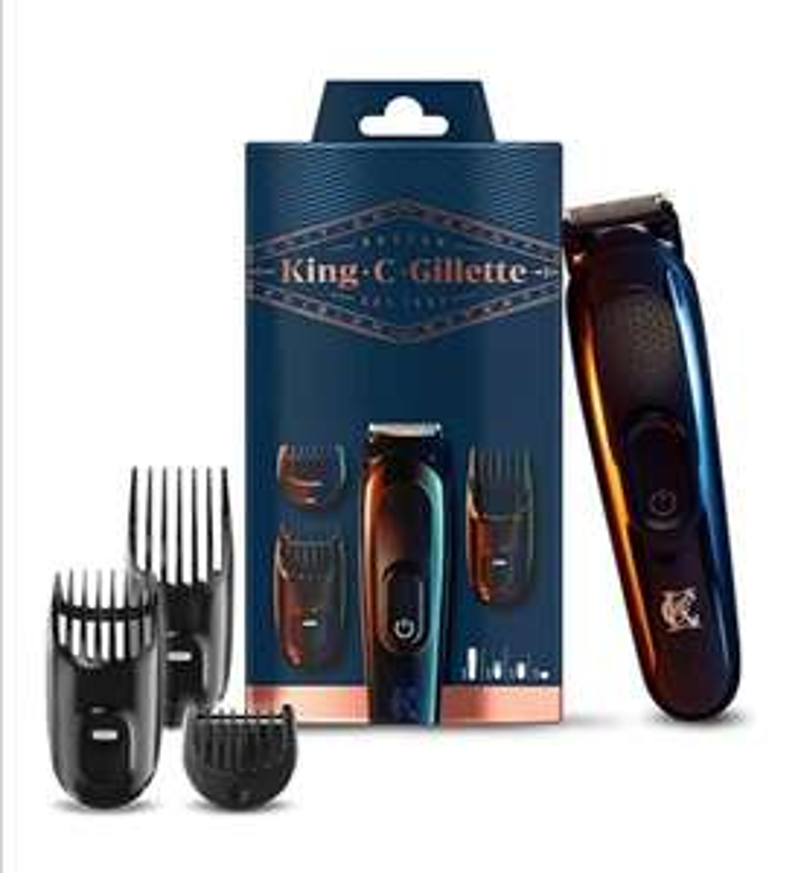 Tondeuse à barbe sans fil Homme Gillette King C. avec 3 sabots interchangeables