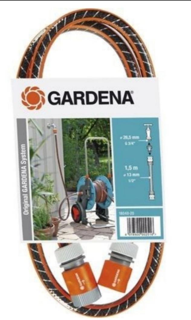 Kit de branchement Gardena - Tuyau L.1.5m diam 15mm (inclus 2 raccords + 1 nez robinet pour dévidoir et centrale d'irrigation)